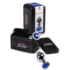 Plug Anal Metalico com Cristal Azul Secret Play - L