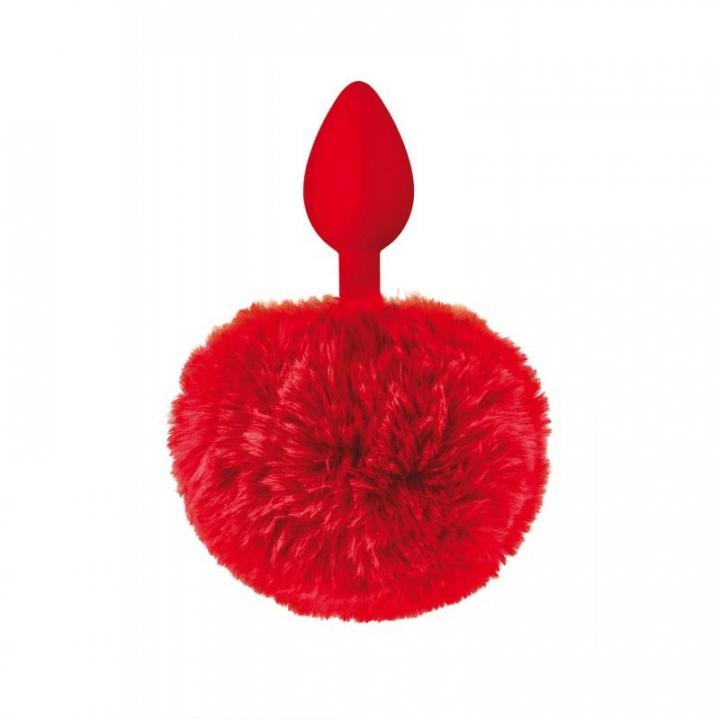 Plug Anal de Silicone Sweet Caress com Cauda de Coelhinho - Vermelho