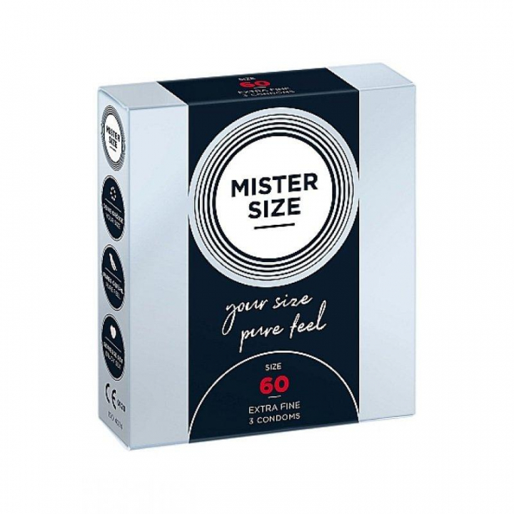 Preservativos Mister Size Pure Feel Extra Finos 60 MM - 3 uni