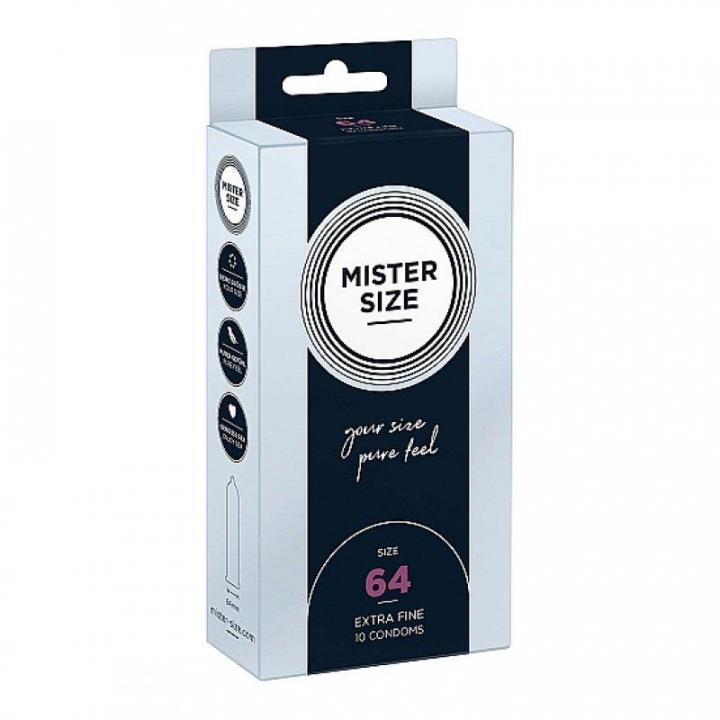 Preservativos Mister Size Pure Feel Extra Finos 64 MM - 10 uni